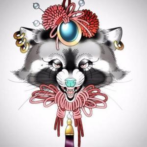 喜庆的浣熊纹身手稿图片