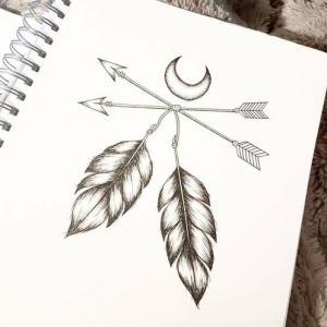 创意羽毛箭纹身手稿图片