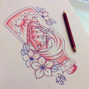 new school 瓶子纹身手稿图片