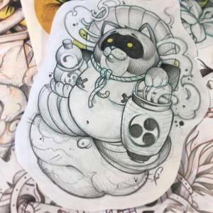 日式浣熊纹身手稿图片