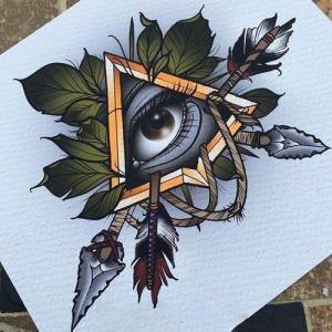 彩色old school 眼睛箭纹身手稿图片