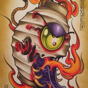 传统彩色灯笼火焰纹身手稿图片