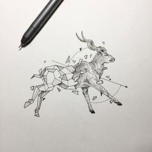 欧美几何山羊纹身手稿图片