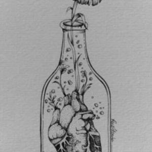 向日葵瓶子纹身手稿图片