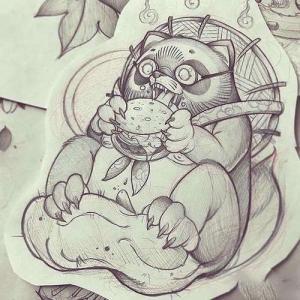 new school浣熊纹身手稿图片