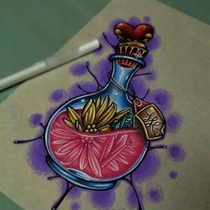 彩色瓶子纹身手稿图片