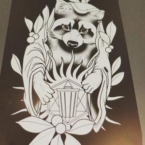 黑灰浣熊纹身手稿图片