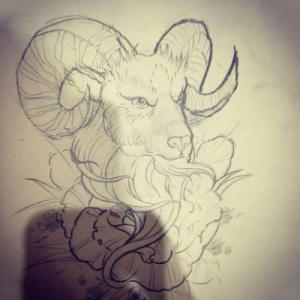 素描山羊纹身手稿图片