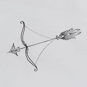 蕾丝丘比特之箭纹身手稿图片
