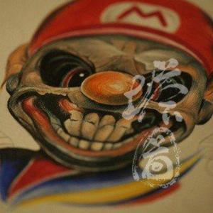 邪恶超级玛丽纹身手稿图片