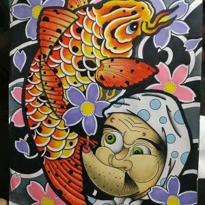 鲤鱼火男纹身手稿图片