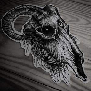暗黑系骷髅羊头纹身手稿图片