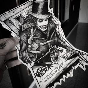 暗黑风格小丑纹身手稿图