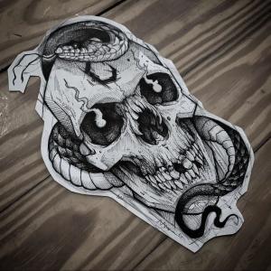 暗黑风骷髅盘蛇纹身手稿