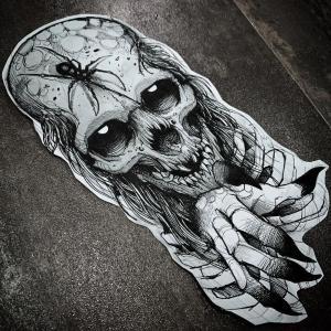 暗黑系骷髅蜘蛛纹身手稿