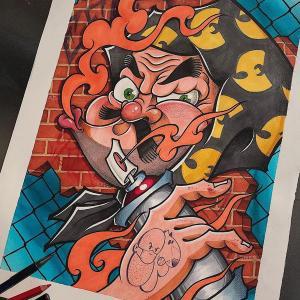 好看的火男纹身手稿