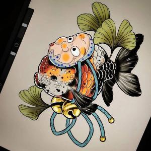 火男金鱼纹身手稿图片