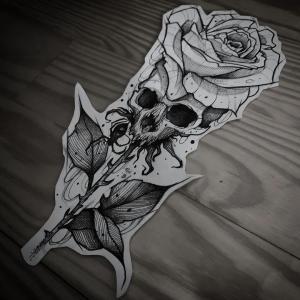 暗黑风骷髅玫瑰纹身手稿