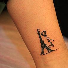 脚踝埃菲尔铁塔热气球纹身图案