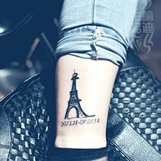 脚踝埃菲尔铁塔纹身图案