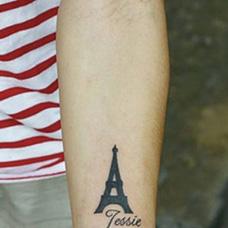 手臂埃菲尔铁塔纹身图片