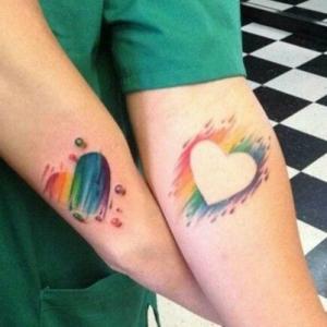情侣爱心纹身,手腕水彩爱心纹身图案