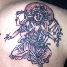 背部阿修罗纹身图片