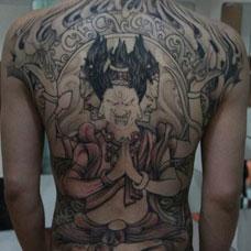 满背阿修罗纹身图案