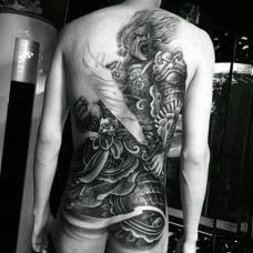 霸气杀神白起绘画风格满背纹身