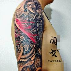 超酷杀神白起血刀花臂纹身图案