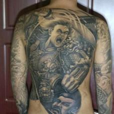 经典白起图案黑灰色满背纹身