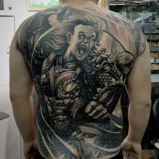 酷帅传统杀神白起满背纹身图案