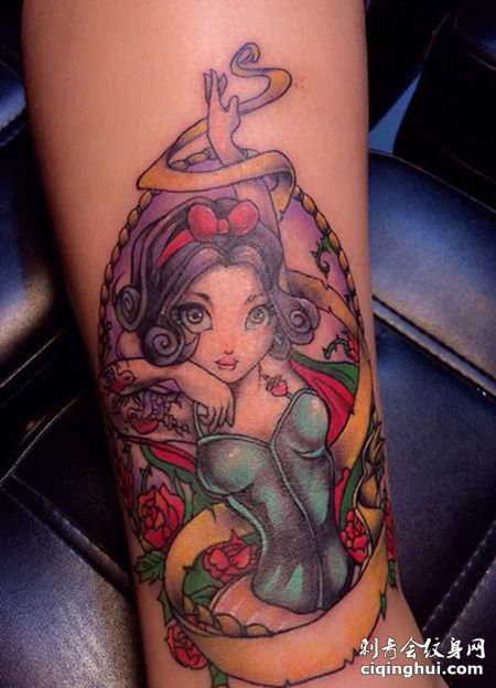 脚踝好看的白雪公主纹身图案