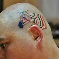 头部彩色斑马纹身图片