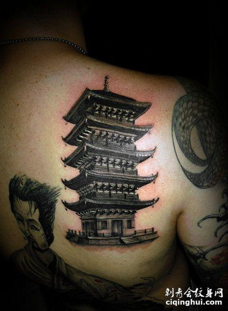 背部古典宝塔纹身图案