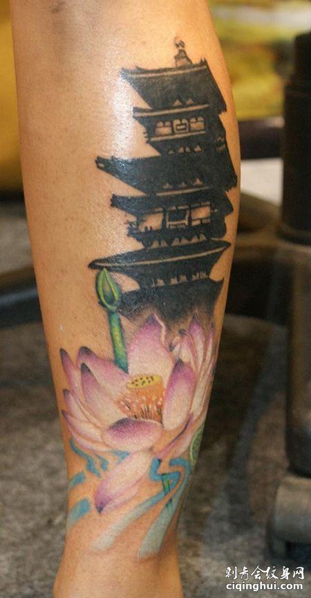 小腿经典的宝塔纹身图案