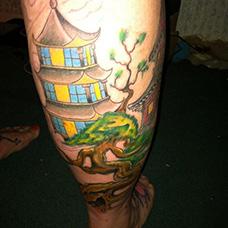 小腿和风宝塔纹身图案