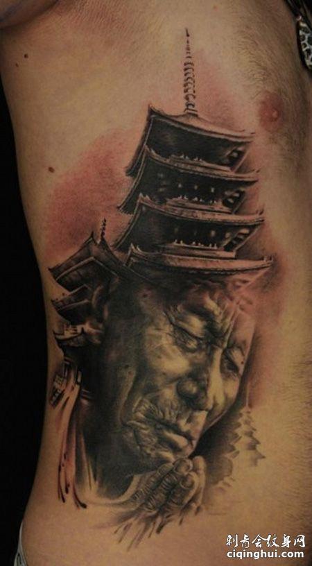 腰部宝塔纹身图片
