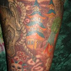 小腿宝塔纹身图片