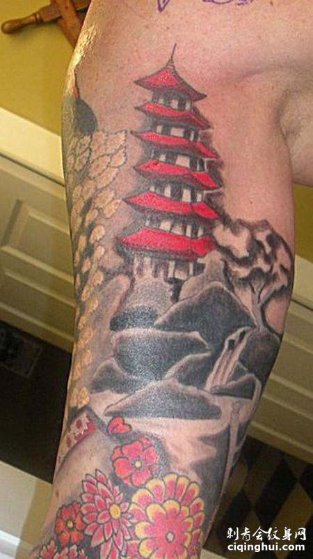 大臂红顶宝塔纹身图案