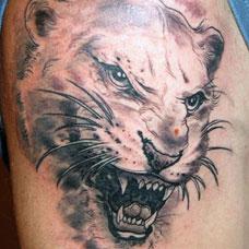 大臂凶猛的猎豹头纹身图案