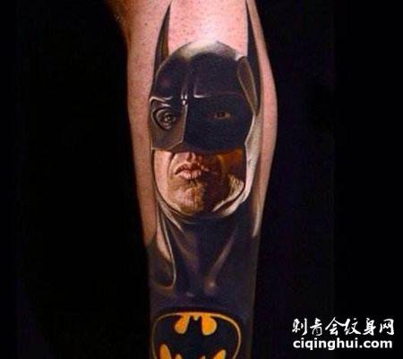 腿部蝙蝠侠纹身图片