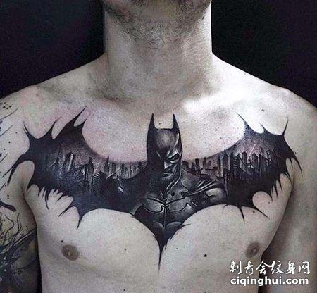 男士胸前蝙蝠侠纹身图案