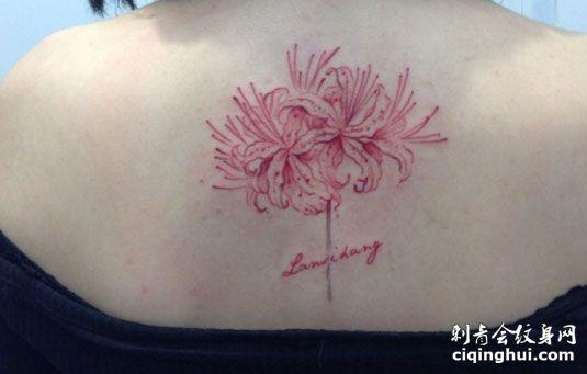 背部粉色彼岸花纹身图案