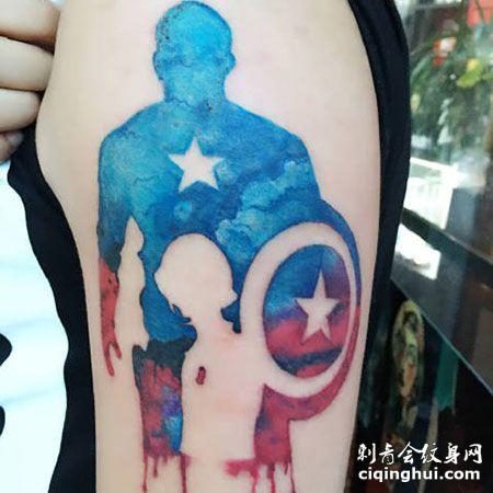 水彩风美国队长标志唯美手臂纹身