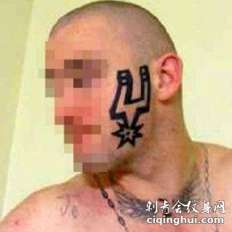 脸部个性NBA马刺队队标纹身图案