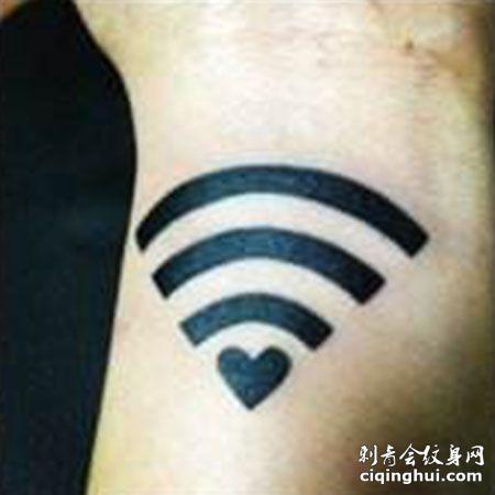 无线标志小清新纹身