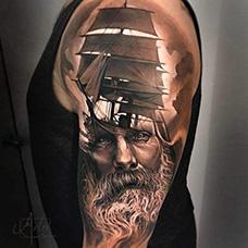 大臂波塞冬帆船纹身图案