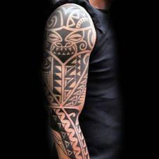 花臂部落纹身图片