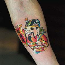手臂小财神纹身图案